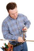 Plombier répare tuyau — Photo