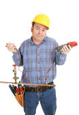 Electrician Confused by Plumbing — Stock Photo