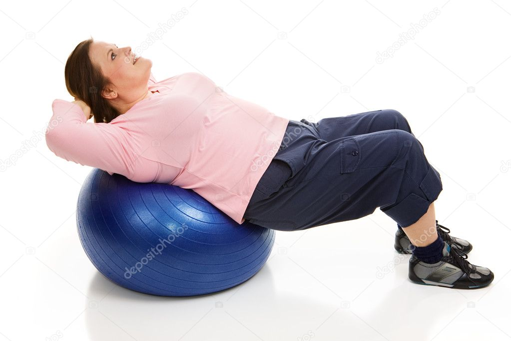 Beautiful plus-sized model doing pilates to tighten her abdominal muscles.  Full body isolated on white.   — Stock Photo #6667122