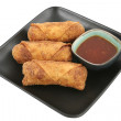 Egg Rolls & Chili Sauce Clipping Path — Stock Photo