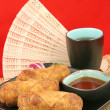 Egg Rolls & Tea - Copy space — Stock Photo