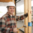 Construction Electrician Installing Box — Stock Photo