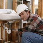 budowlane hydraulik praca — Zdjęcie stockowe