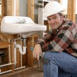 Construction Plumber — Stock Photo