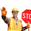Stock Photo: Construction Stop Isolated