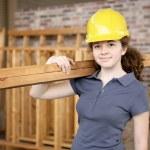 uczeń kobiece budowlane — Zdjęcie stockowe