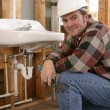 Friendly Construction Plumber — Stock Photo #6671427
