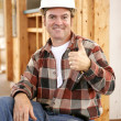 Thumbsup on Construction Site — Stockfoto