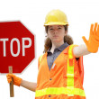 Stock Photo: Traffic Directing Stop Isolated