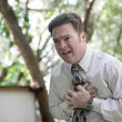 Chest Pain Outdoors - Stock Photo