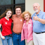 Election - Family Outside Polls — Stock Photo