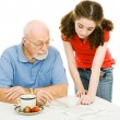 Helping Grandpa — Stock Photo