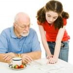 Helping Grandpa — Stock Photo