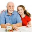Teen & Grandpa — Stock Photo