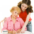 Voting - Helping Grandma with Paperwork — Stock Photo