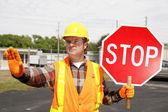 Construction Crew Stop Sign — Stock Photo