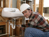 Construction Plumber Working — Stock Photo