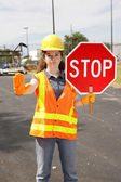Construction Site Stop — Stock Photo