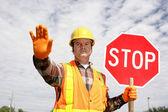 Bouw werknemer stop — Stockfoto