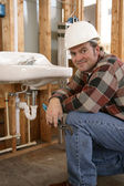 Friendly Construction Plumber — Stock Photo