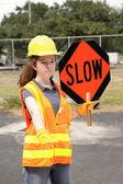 Road Crew Slow Sign — Stock Photo