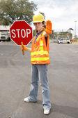 Road Crew Stop Full View — Stock Photo