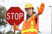 Traffic Directing Stop — Stock Photo