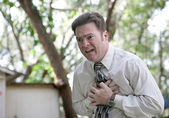Chest Pain Outdoors — Stock Photo