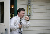 Coughing in Doorway — Stock Photo
