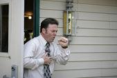 Coughing in Doorway — Stock Photo