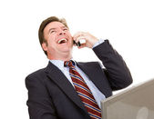 Businessman Laughing on Phone — Stock Photo