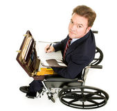 Disabled Businessman Takes Notes — Stock Photo