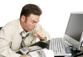 Choking or Coughing at Work — Stock Photo