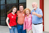Election - Family Outside Polls — Stockfoto