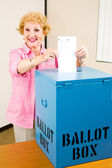 Election - Senior Woman Votes — Stock Photo