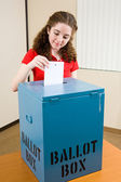 Election - Young Voter Casts Ballot — Stock Photo
