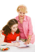 Grandma Helps Young Voter — Stock Photo