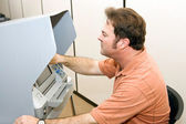 Man Votes on Touch Screen — Stock Photo