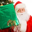 Curious Christmas Santa - Stock Photo