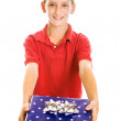 Cute Boy with Holiday Gift - Stockfoto