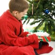 Little Boy with Christmas Gift — Stock Photo