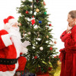 Santa Surprised by Child — Stockfoto