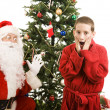 Santa and Child Christmas Surprise — Stock Photo
