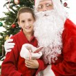 Santa and Little Boy on Christmas — Stock Photo
