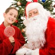 Santa and Little Boy — Stock Photo