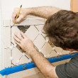 Marking Ceramic Tile — Stock Photo
