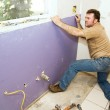 Worker Installing Drywall — Stock Photo