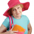 Summer Senior - Pink Hat — Stock Photo