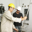 Electrical Team Bending Pipe — Stock Photo