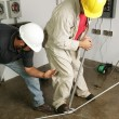 Electrician & Supervisor Bend Pipe — Stock Photo